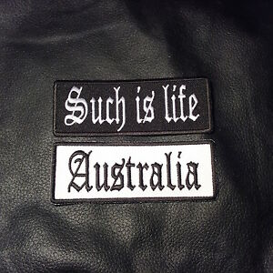 Leather-Jacket-Vest-Biker-Patch-AUSTRALIA-SUCH-IS-LIFE-sew-iron