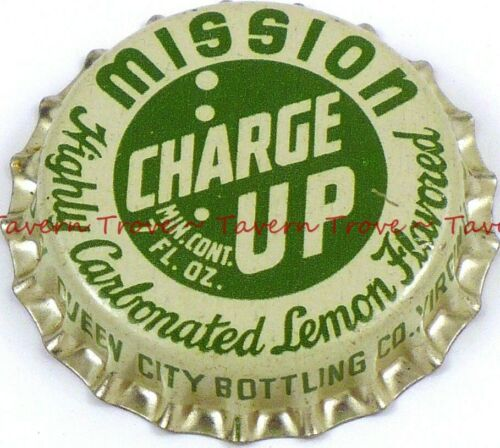 1950s MINNESOTA Virginia MISSION CHARGE UP SODA Cork Crown Tavern Trove