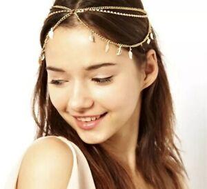 Leaf Rhinestone Headband Indian Hair Jewelry Pendant Headpiece