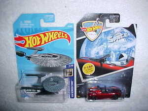 HW HOT WHEELS STAR TREK U.S.S. VENGEANCE & SPACE '08 TESLA  ROADSTER- VHTF NEW