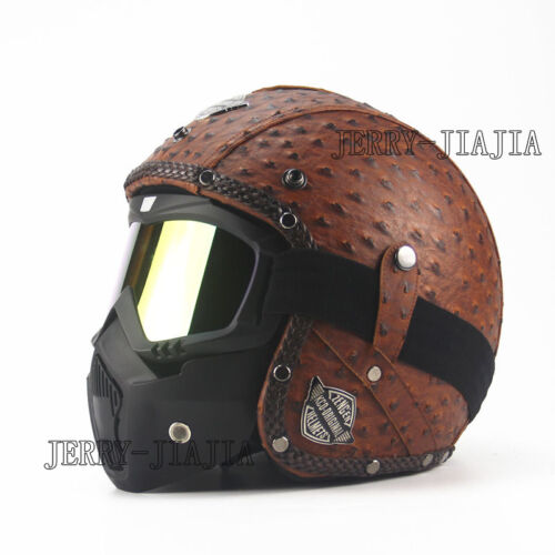 Vintage PU Leather Motorcycle Open Face Helmet 3//4 With Face Mask