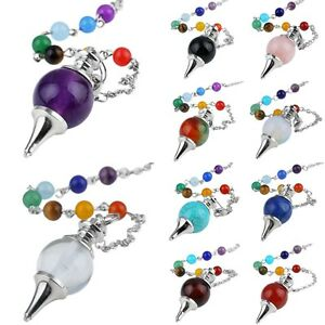 7 Chakra Stone Healing Reiki Gemstone Divination Dowsing Pendulum with Chain