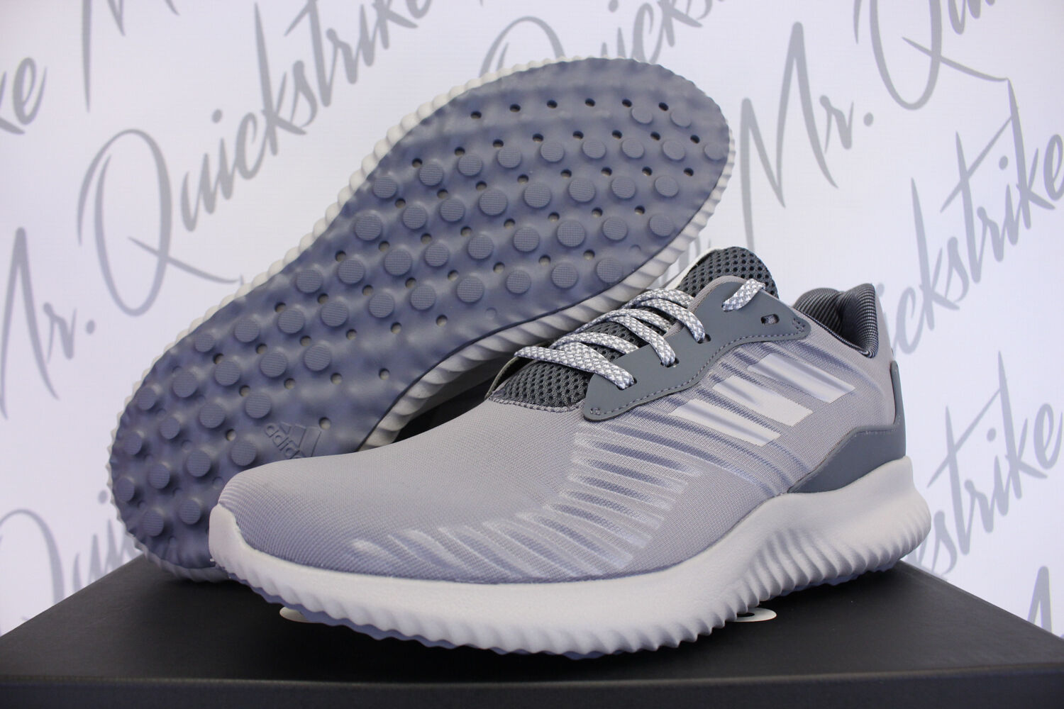 ADIDAS ALPHABOUNCE RC SZ 12 RUNNING SHOE HEATHER GREY BLACK WHITE BW0693