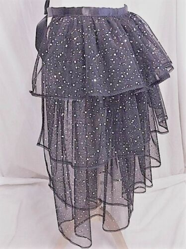Ladies Black Sparkly Bling Long Bustle Net Lace Skirt Tutu Burlesque Party