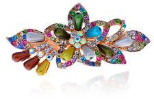 Colourful Rainbow Pearls & Rhinestones Flower Hair Barrette Accessories HA144