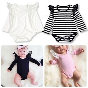 498e5d56e Baby Girls Lace Long Flutter Sleeve Romper Bodysuit Jumpsuit Clothes ...
