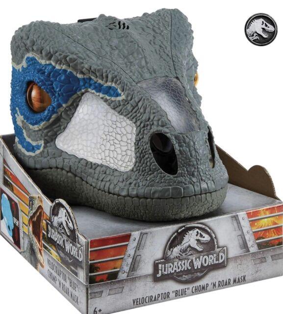Jurassic World Chomp 'N Roar Mask Velociraptor Blue Pretend Play Move Eyes Sound