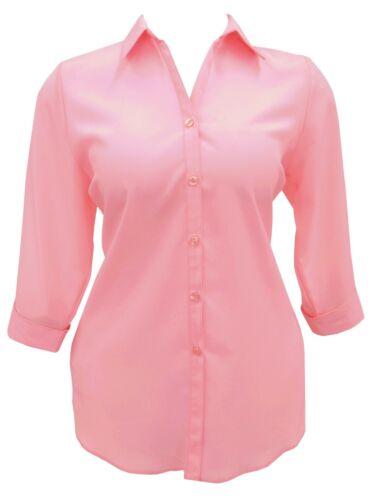 Femme Nouveau Rose Chemise//Chemisier Uni Femmes Taille Plus 26 To 34 Lick *