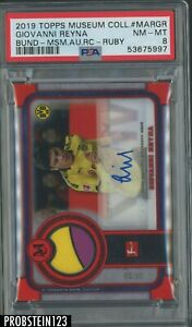2019 Topps Museum Collection Ruby Soccer Giovanni Reyna AUTO Patch /25 PSA 8