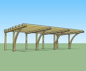 Copertura In Legno Per Auto : Carport in legno posti auto xh m copertura garage in