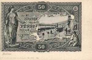 EARLY-1900-039-s-VINTAGE-SWITZERLAND-50-FRANKEN-BANKNOTE-POSTCARD-UNUSED-MONTREUX-PC