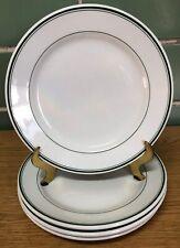 "Vintage Sterling China 9"" Dinner Plates White w/ Green Stripes (Set of 4)"