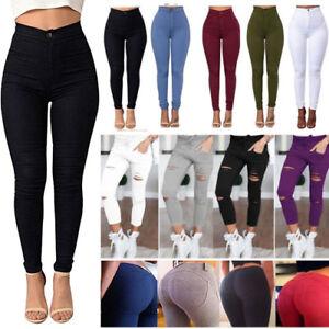 3c86674fc9 La imagen se está cargando Mujer-Skinny-Pitillo-Pantalones-Leggings-Elastico -Rasgado-Cintura-