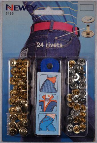 tool jean bag leathersilver /& brass 8.5 x 6mm 24 double cap rivet stud kit