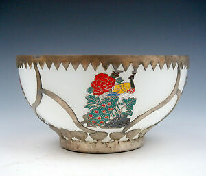Tibetan Silver Longevity & Birds Overlay Decorative Bowl #01261502