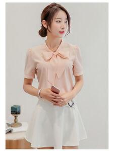 Women-Bowknot-Loose-Chiffon-Tops-Short-Sleeve-Shirt-Casual-Blouse-Summer