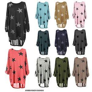 Women-Ladies-Star-Printed-Batwing-Low-Back-Plain-Baggy-Tunic-Top-Dress-Plus-Size