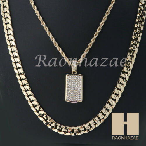 "MEN Iced DOG TAG ROPE CHAIN DIAMOND CUT 30/"" CUBAN LINK CHAIN NECKLACE S05G"