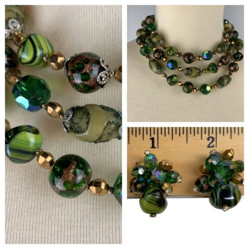 Vintage Vendome Demiparure 1970s Gold Metal and Wire-Wrapped Faux Jade Settings Necklace and Clip Earrings