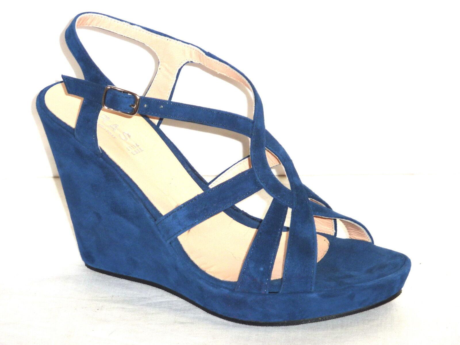 837 ZEPPE SANDALI mujer FONDO FONDO FONDO RIVESTITO PELLE NABUK azul Made in  n. 36  tienda de bajo costo