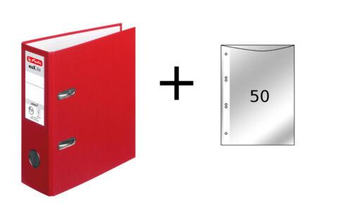 rot Herlitz Ordner 50 Prospekthüllen DIN A5 80mm breit Farbe