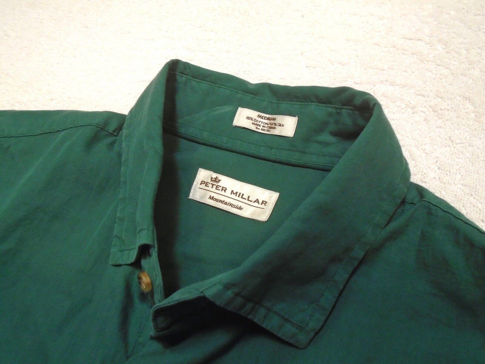 Peter Millar Mountainside Cotton & Silk Blend Forest Green Sport Shirt NWT