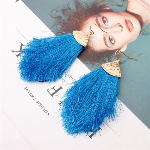 Fashion Women Bohemian Triangle Long Tassel Fringe Drop Dangle Earrings Jewelry