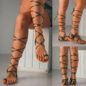 Women's Summer Gladiator Knee High Sandals Cut Out Shoes