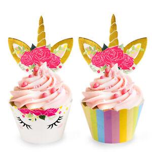 48x-Unicorn-Cake-Cupcake-Topper-amp-Wrapper-Baby-Shower-Kids-Birthday-Party-Decor