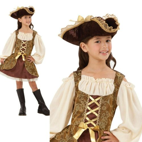 Kids Golden Caribbean Pirate Fancy Dress Costume Deluxe Pirates Costume Âge 4-12