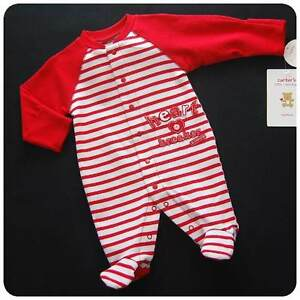 bbf14720c7 Details about New NWT~CARTERS~Red+White Sleeper-Romper~Baby Boys HEART-BREAKER  NB 3 6 9 months