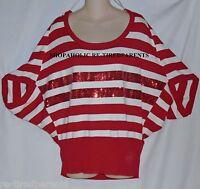Derek Heart – Sweater – Red – White – Stripe – Red Sequins – Plus 3x – $34