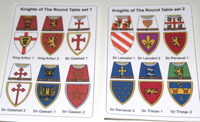 Merveilleux 24 Custom Stickers Knights Of The Round Table Set 1 U0026 2   Lego Torso Size
