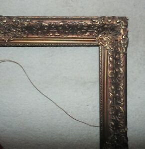 """LARGE 19th c. Picture Frame Wood & Gesso 24 1/4"""" x 20"""" Opening Antique Victorian"""