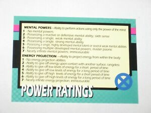 1992 X-MEN SERIES 1 POWER RATINGS CARD! RARE ONLY IN TIN! IMPEL! MARVEL JIM LEE!
