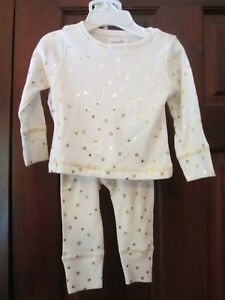 Mud-Pie-Gold-Star-Baby-Girl-Pajamas-Size-6-9-Months-NWT