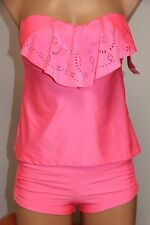 NEW Hula Honey Swimsuit Bikini Tankini 2pc set Sz L Bandeau Strap Shorts