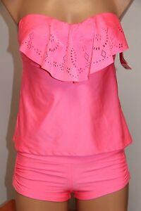NWT Hula Honey Swimsuit Bikini Tankini 2pc set Sz S Crochet Bandeau Strap
