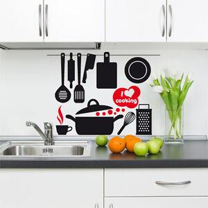 00541 wall stickers adesivi murali utensili cucina i love for Stickers murali cucina