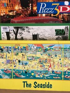 Jigsaw-Puzzles-Lot-3x-The-Geldart-Collection-London-Bus-3D-The-Seaside-Game-Toys