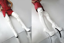 CQ COUTURE PLATFORM NEW OVERKNEE STIEFEL BOOTS STIVALI STRETCH LEATHER BIANCO 42