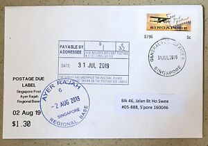 Singapore-cover-2019-Airmail-100Yr-ATM-SAM-stamp-First-Day-TAX-Postage-Due