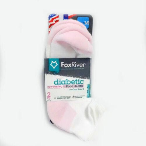 Fox River Women/'s Diabetic Quarter Sock in White//Pink Medium 2-Pack