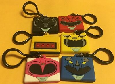 Complete set of 6 Power Rangers Keychain Cube Heads Wish Factory Alpha 8