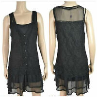 Pretty Angel Victorian Vintage Renaissance Black Sheer Cardigan Top Large Xl L
