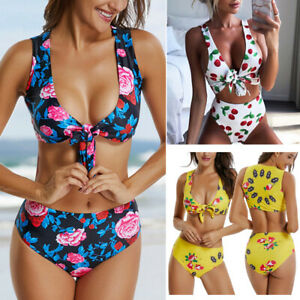 e4833f3a9d Image is loading Women-Brazilian-Sexy-Swimwear-Padded-Bikini-High-Waisted-