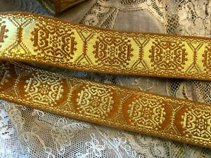 Embroidered-CELTIC-1-034-Trim-1yd-Ribbon-Made-in-France-REVERSIBLE-Old-stock