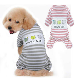 Image is loading Pet-Puppy-Dog-Pajamas-Jumpsuit-Stripes-Chihuahua-Clothes- 92d9343d8