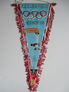 Large-Vintage-1972-Olympic-games-Munich-pennant-wimpel-XX-Olympiade