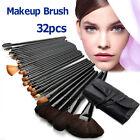 OZ Cosmetic Makeup brush set Make Up Brushes Goat Hair Leather Case Kit 32pcs